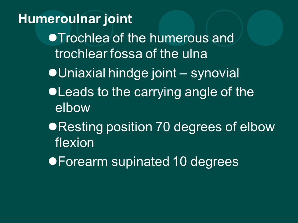 Humeroradial joint Capitulum of humerus and head of radius Uniaxial hinge joint – synovial (gliding) Resting position – full extension and fully supinated