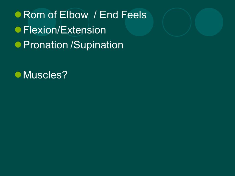 Functionally the elbow is an integral part of the kinetic chain Daily functions need 140 degrees of elbow flexion to reach the head