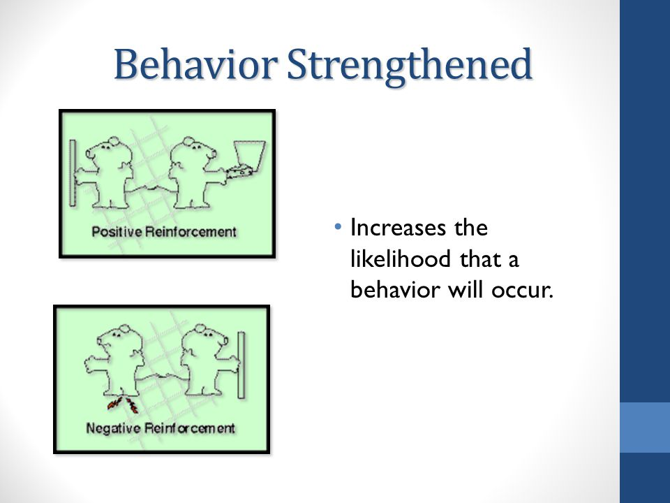 Behavior Strengthened Increases the likelihood that a behavior will occur.