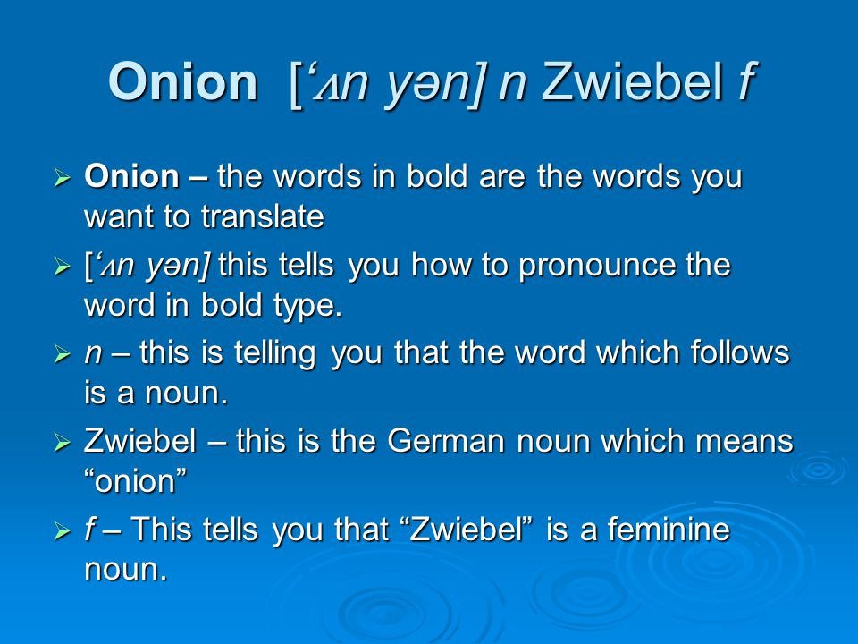Onion [' ʌ n yən] n Zwiebel f  Onion – the words in bold are the words you want to translate  [' ʌ n yən] this tells you how to pronounce the word in bold type.