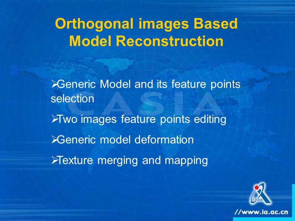 Orthogonal images Based Model Reconstruction  Generic Model and its feature points selection  Two images feature points editing  Generic model deformation  Texture merging and mapping