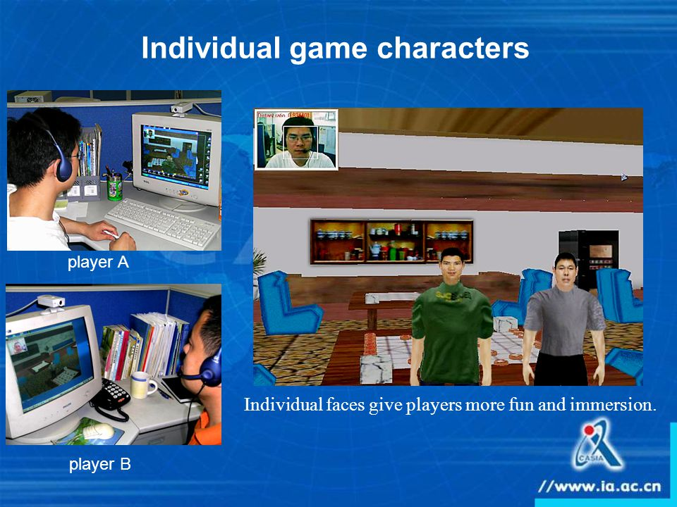 Individual game characters Individual faces give players more fun and immersion. player A player B