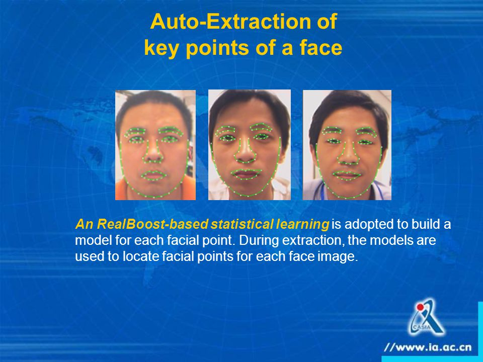 Auto-Extraction of key points of a face An RealBoost-based statistical learning is adopted to build a model for each facial point.