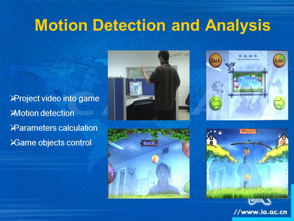 Motion Detection and Analysis  Project video into game  Motion detection  Parameters calculation  Game objects control