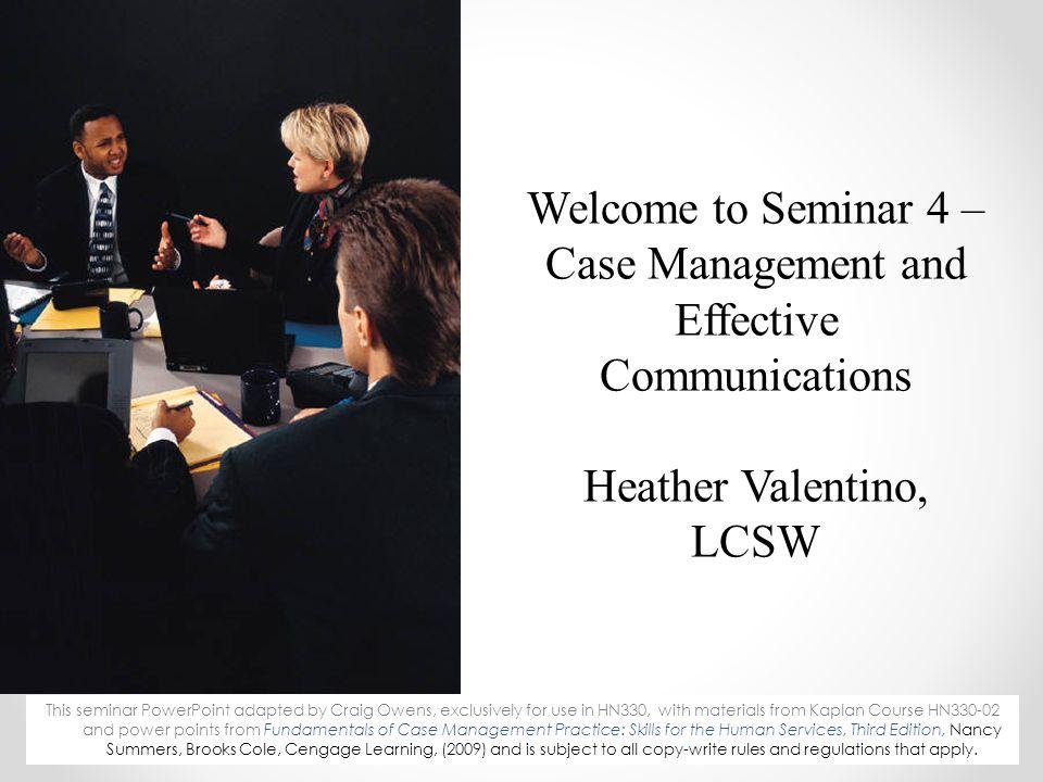 Seminar Agenda Review last week & apply the learning.