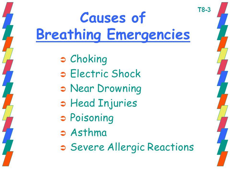 Causes of Breathing Emergencies Ü Choking Ü Electric Shock Ü Near Drowning Ü Head Injuries Ü Poisoning Ü Asthma Ü Severe Allergic Reactions T8-3