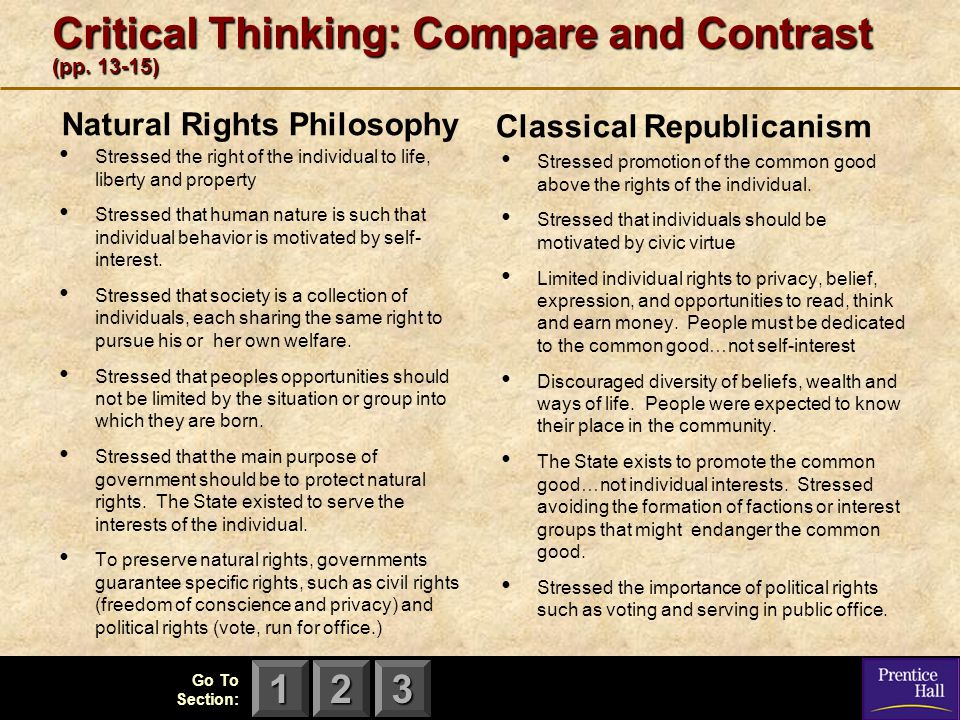 123 Go To Section: Critical Thinking: Compare and Contrast (pp. 13-15) Natural Rights Philosophy Stressed the right of the individual to life, liberty