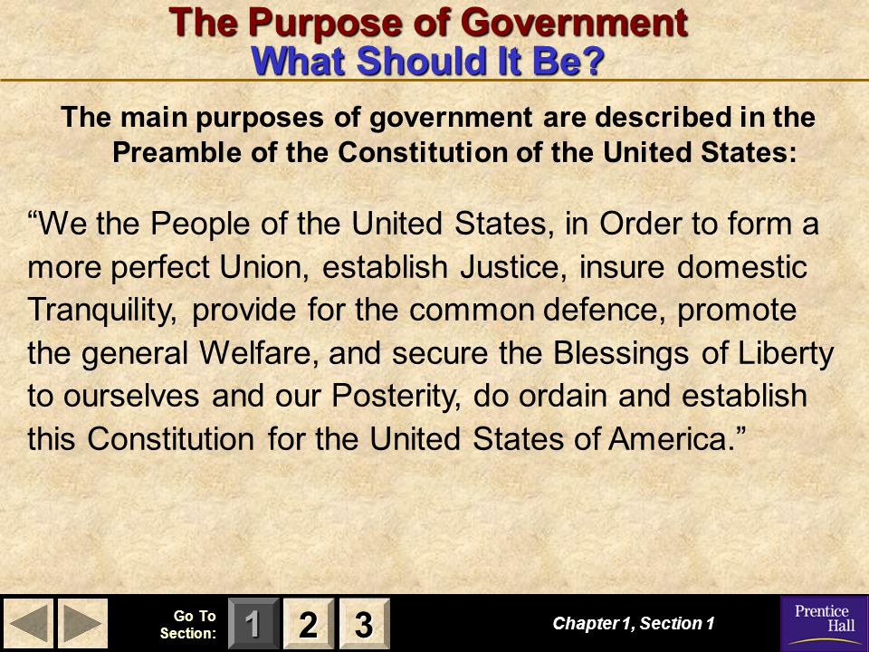 123 Go To Section: The Purpose of Government What Should It Be? The main purposes of government are described in the Preamble of the Constitution of t
