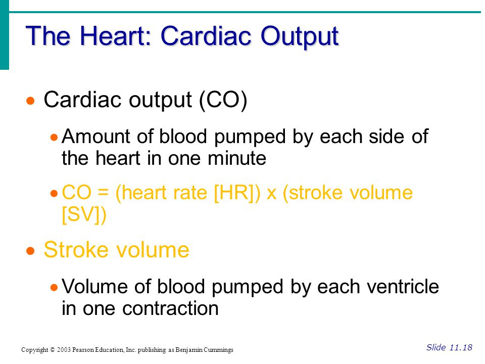 The Heart: Cardiac Output Slide 11.18 Copyright © 2003 Pearson Education, Inc.