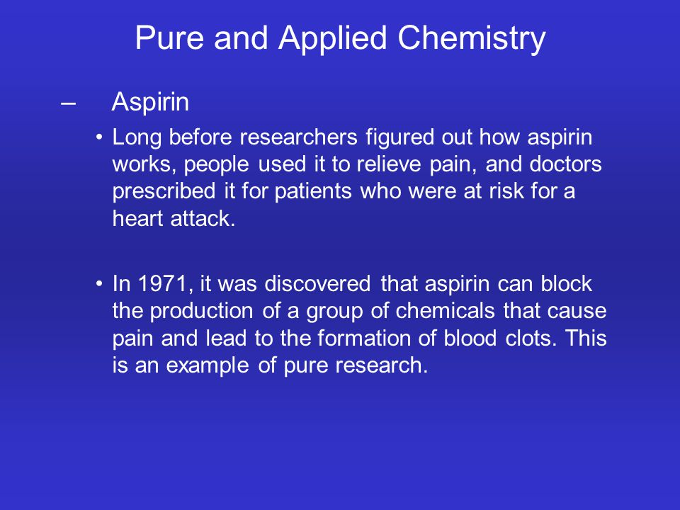 Pure and Applied Chemistry – Aspirin Long before researchers figured out how aspirin works, people used it to relieve pain, and doctors prescribed it for patients who were at risk for a heart attack.