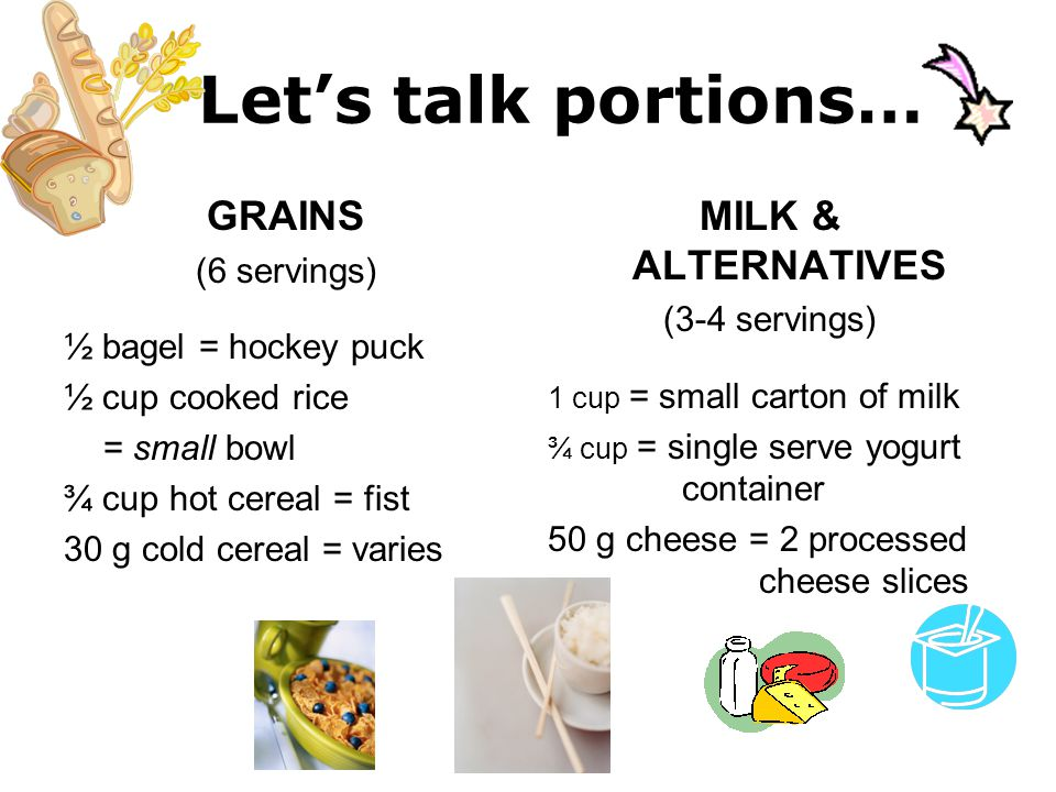 Let's talk portions… GRAINS (6 servings) ½ bagel = hockey puck ½ cup cooked rice = small bowl ¾ cup hot cereal = fist 30 g cold cereal = varies MILK &