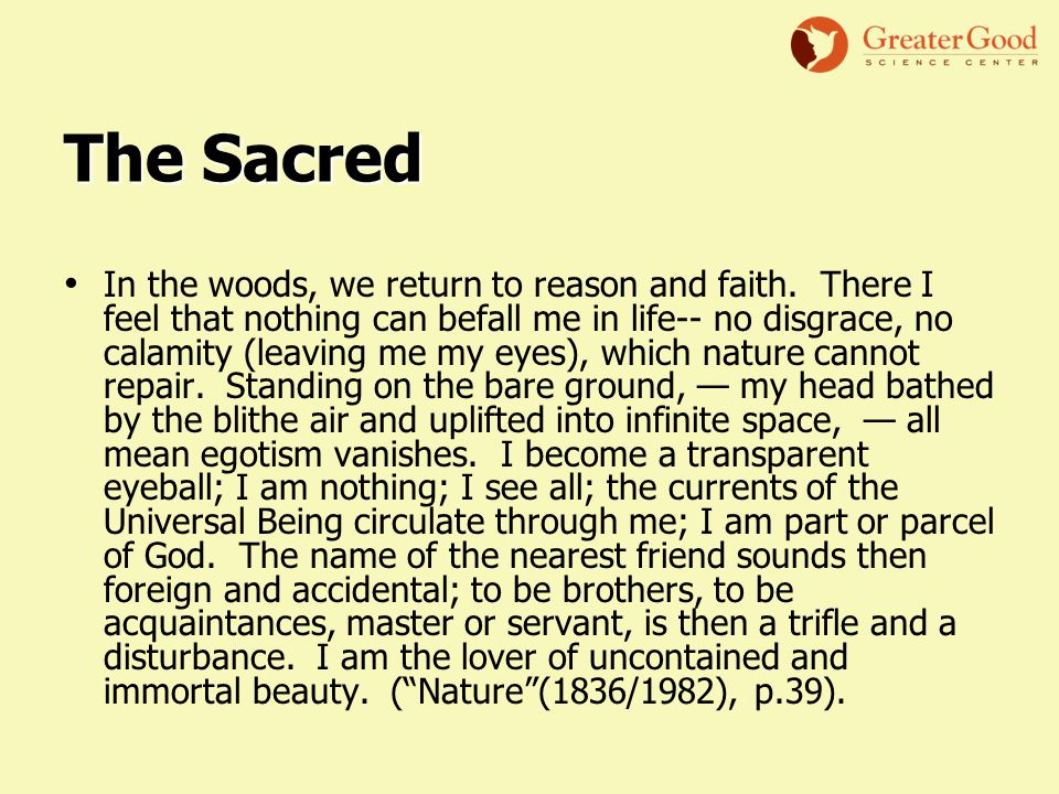 The Sacred In the woods, we return to reason and faith.