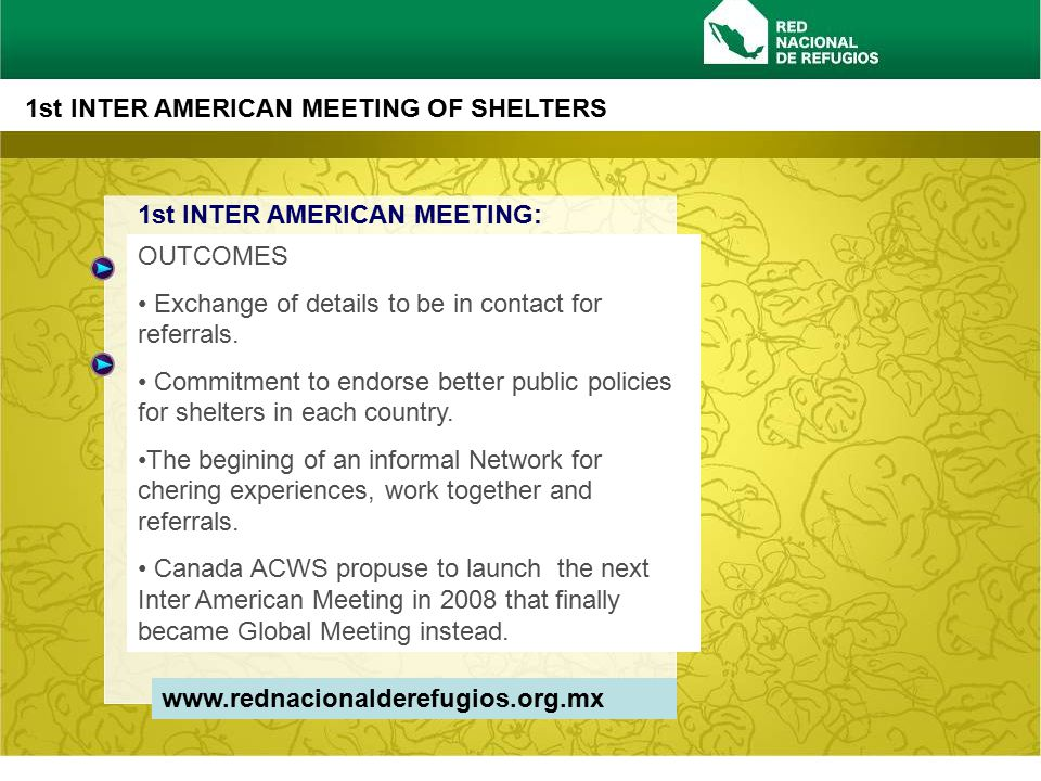 www.rednacionalderefugios.org.mx 1st INTER AMERICAN MEETING OF SHELTERS OUTCOMES Exchange of details to be in contact for referrals.