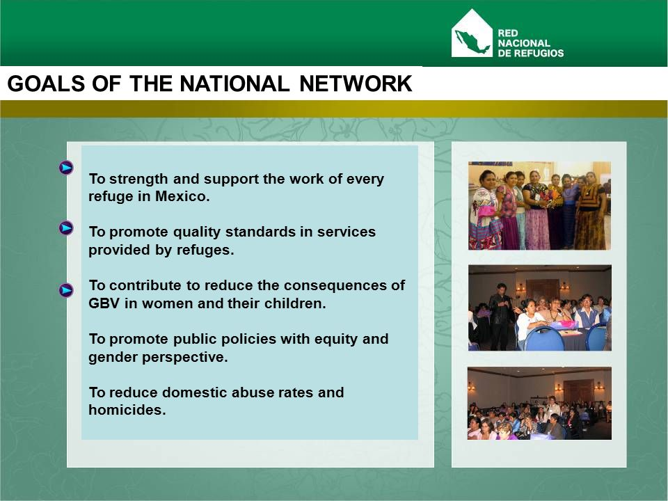 www.rednacionalderefugios.org.mx 1st INTER AMERICAN MEETING OF SHELTERS An Inter-American Shelter´s Statement from delegates of 10 Countries: 1)Establish mechanism for compliance with international agreements on human rights and women´s and children rights.