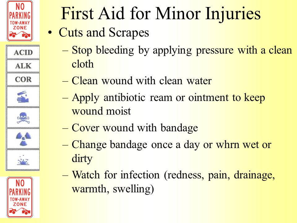 First Aid for Minor Injuries Sprains & Strains (RICE) –Rest injured part of body –Apply Ice or cold compress 10-15 minutes at a time for first 48 hours, reduce swelling –Wear elastic Compression bandage at least 48 hours, reduce swelling –Keep injured Elevated above heart level, reduce swelling