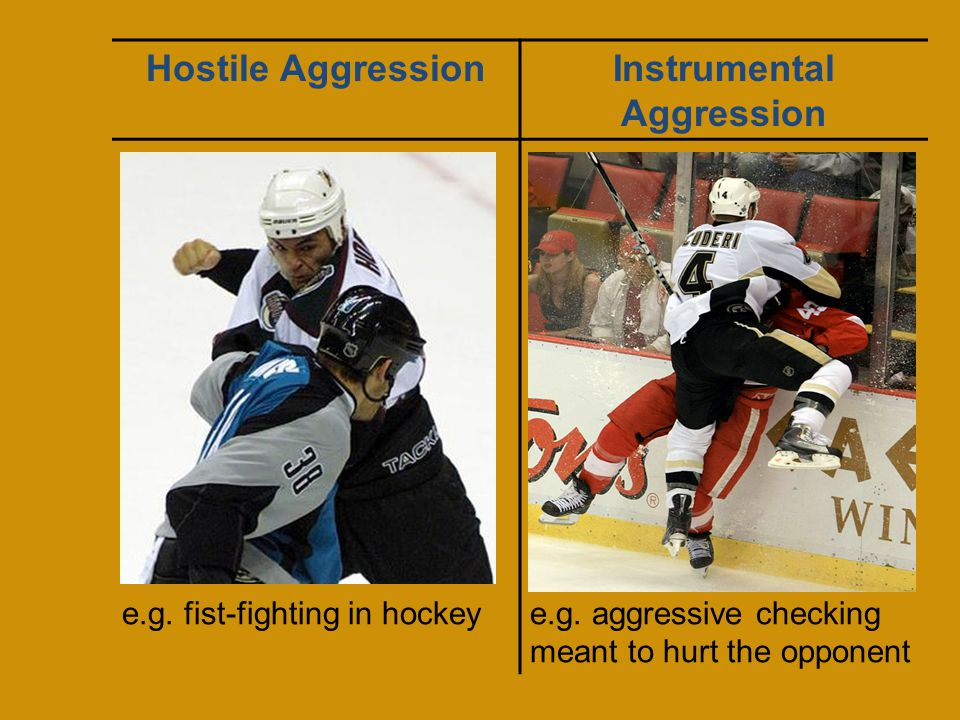 Hostile AggressionInstrumental Aggression The intent is to cause harm The goal is to cause suffering The intent is to cause harm The goal is to achieve some external award Anger is usually involved No anger is involved Performed outside the rules of the game Performed within the rules of the game e.g.