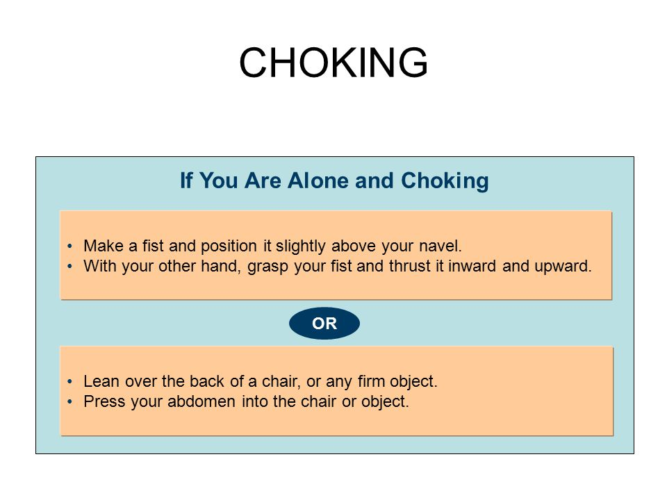 CHOKING If You Are Alone and Choking Make a fist and position it slightly above your navel. With your other hand, grasp your fist and thrust it inward