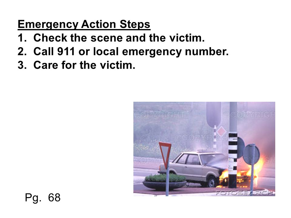 Emergency Action Steps 1.Check the scene and the victim.