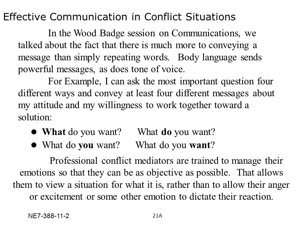NE7-388-11-2 Effective Communication in Conflict Situations What do you want? What do you want? In the Wood Badge session on Communications, we talked
