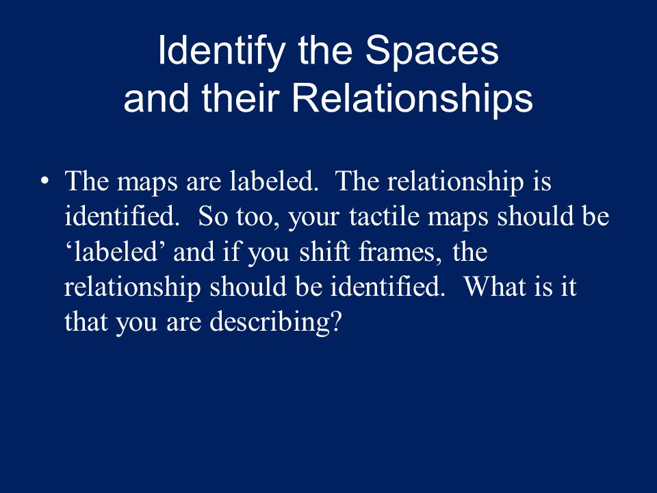 Identify the Spaces and their Relationships The maps are labeled. The relationship is identified. So too, your tactile maps should be 'labeled' and if