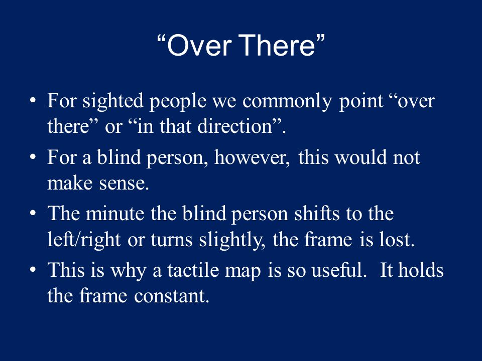"""""""Over There"""" For sighted people we commonly point """"over there"""" or """"in that direction"""". For a blind person, however, this would not make sense. The min"""