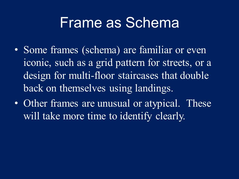 Frame as Schema Some frames (schema) are familiar or even iconic, such as a grid pattern for streets, or a design for multi-floor staircases that doub