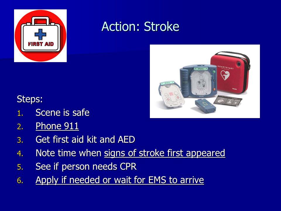Action: Stroke Steps: 1. Scene is safe 2. Phone 911 3.