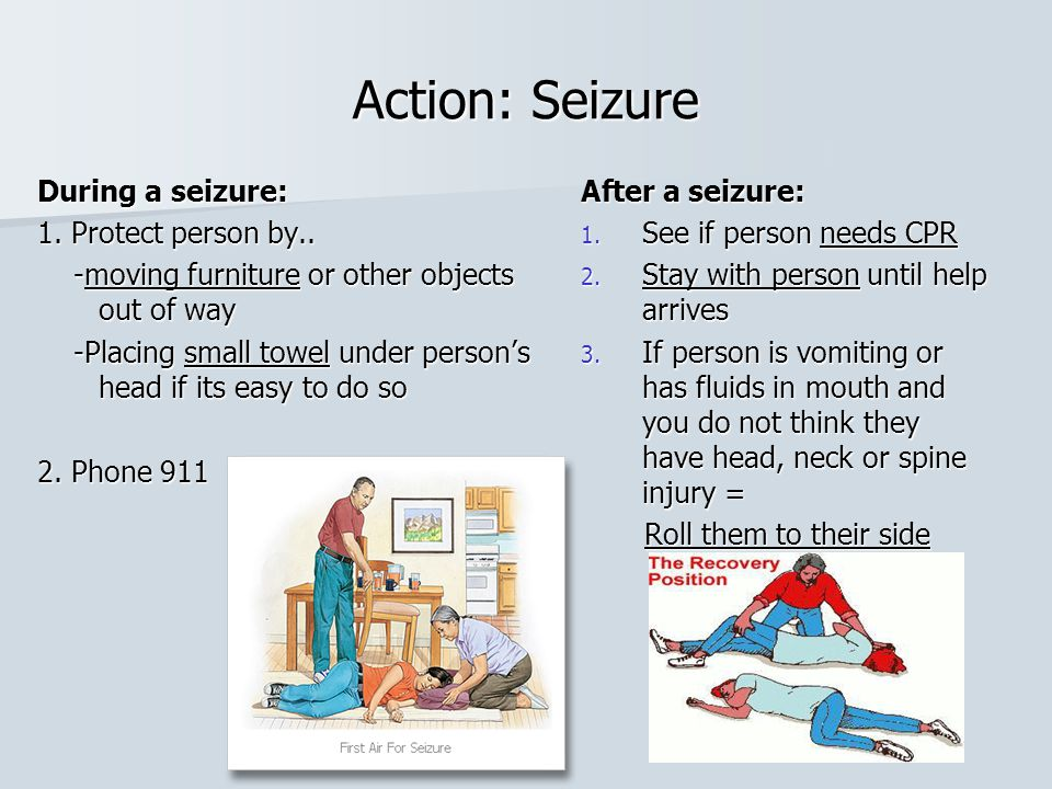 Action: Seizure During a seizure: 1. Protect person by..
