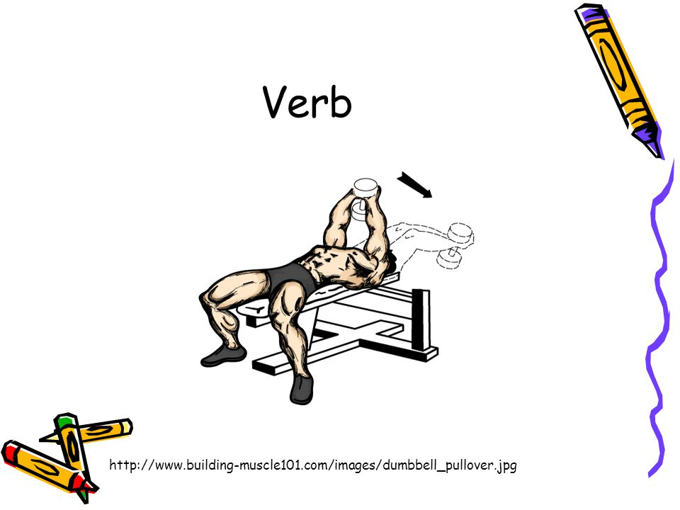 Verb http://www.building-muscle101.com/images/dumbbell_pullover.jpg
