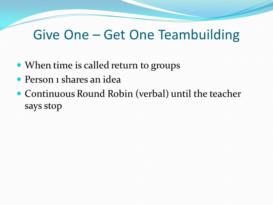 Reflection: Timed Round Robin (#3) Think Time: Which of the following academic functions would this structure work best for? Knowledge Building: Facts and Information Procedure Learning: Skills and Procedures Processing Information: Make Meaning, Display Understanding, Digest Content Thinking Skills: Compare/Contrast, Brainstorm, Evaluate, Cause/Effect Presenting Information: Book Reports/Projects