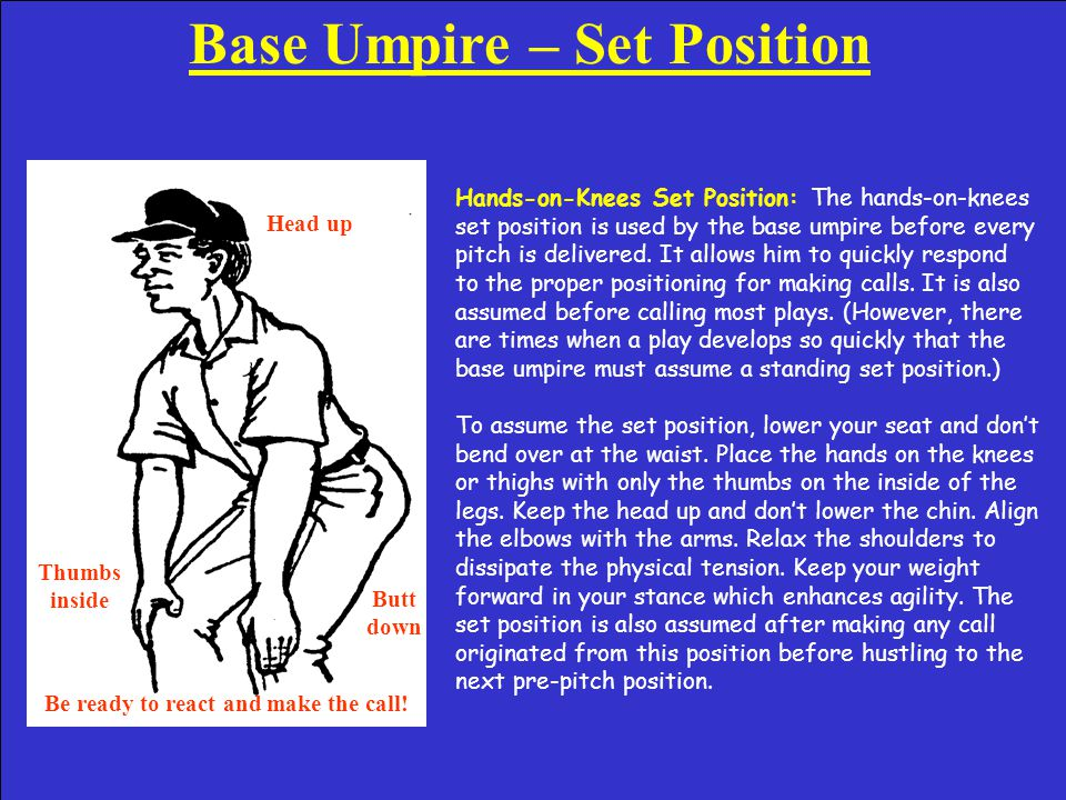 Plate Umpire – Checked Swing Appeal Checked Swing Appeals Ball: The plate umpire remains in the set position and calls, Ball, no he didn't go! If the catcher asks for an appeal, the plate umpire will point at the appropriate base umpire and loudly ask, Did he go If the base umpire responds with a no swing signal the plate umpire will then merely indicate the current pitch count.