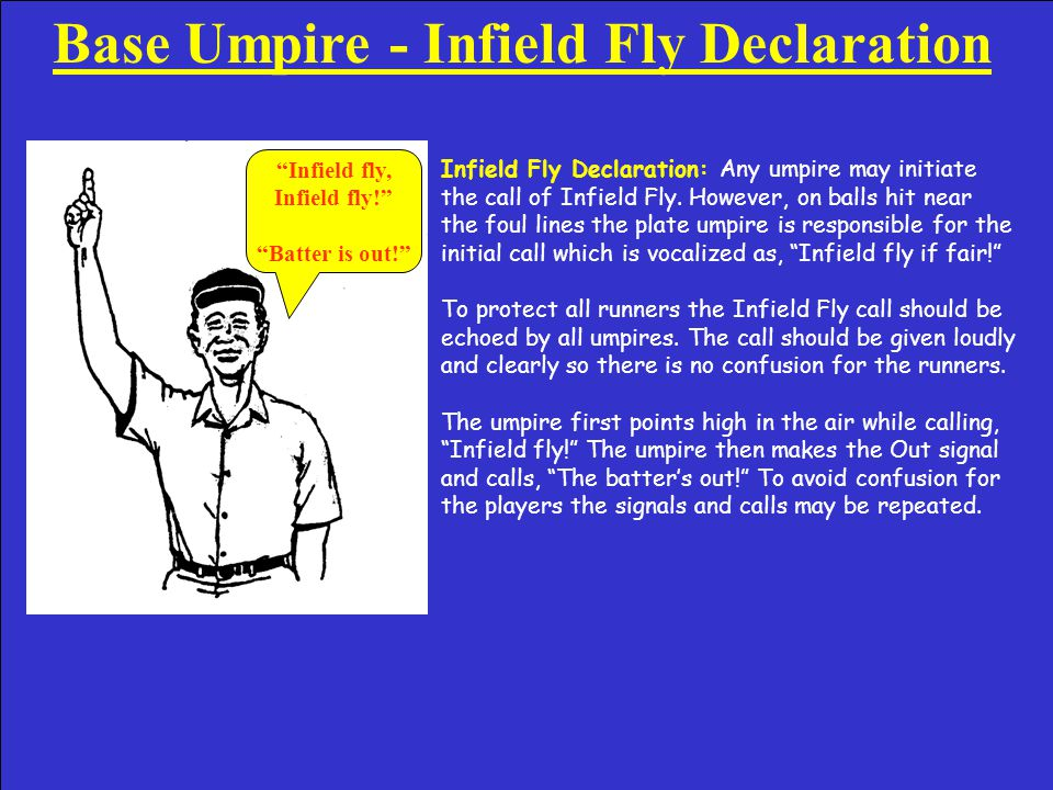 Base Umpire Infield Fly Signal to Partner Infield Fly Signal to Partner: This signal is flashed among umpires as a reminder of a potential infield fly situation.