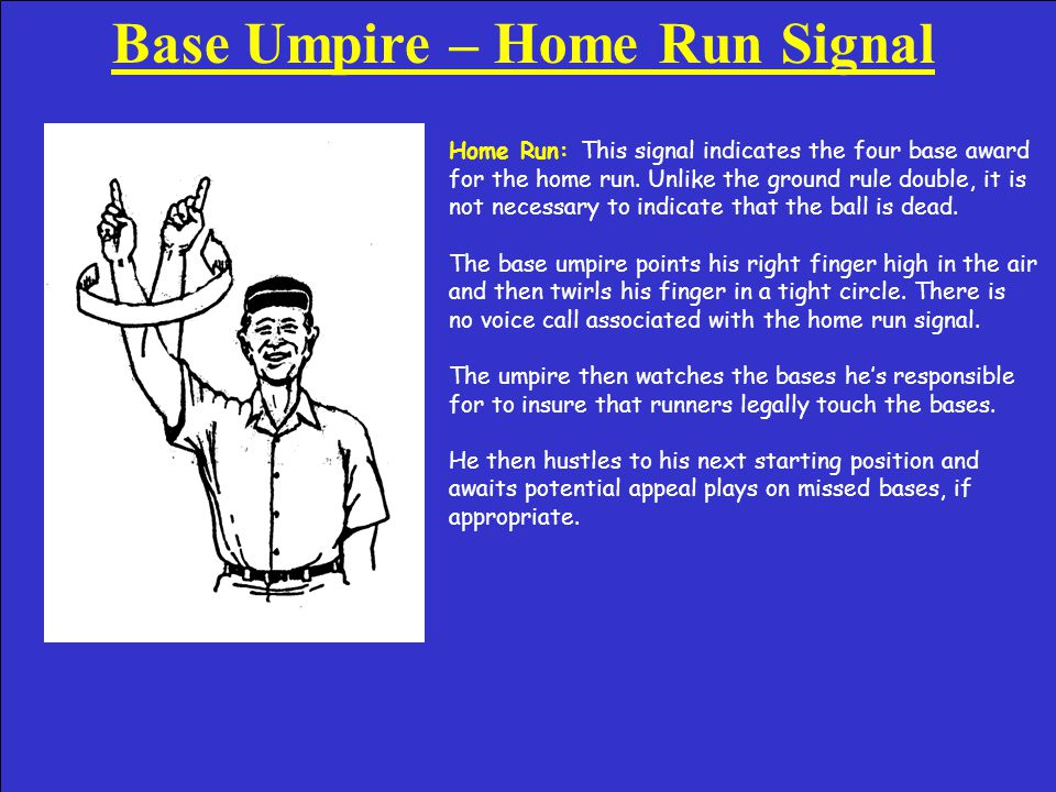 Base Umpire – Off the Bag Call Off the Bag: This signal is an explanatory one used on plays in which the ball beat the runner but the fielder came off the bag to make the catch.