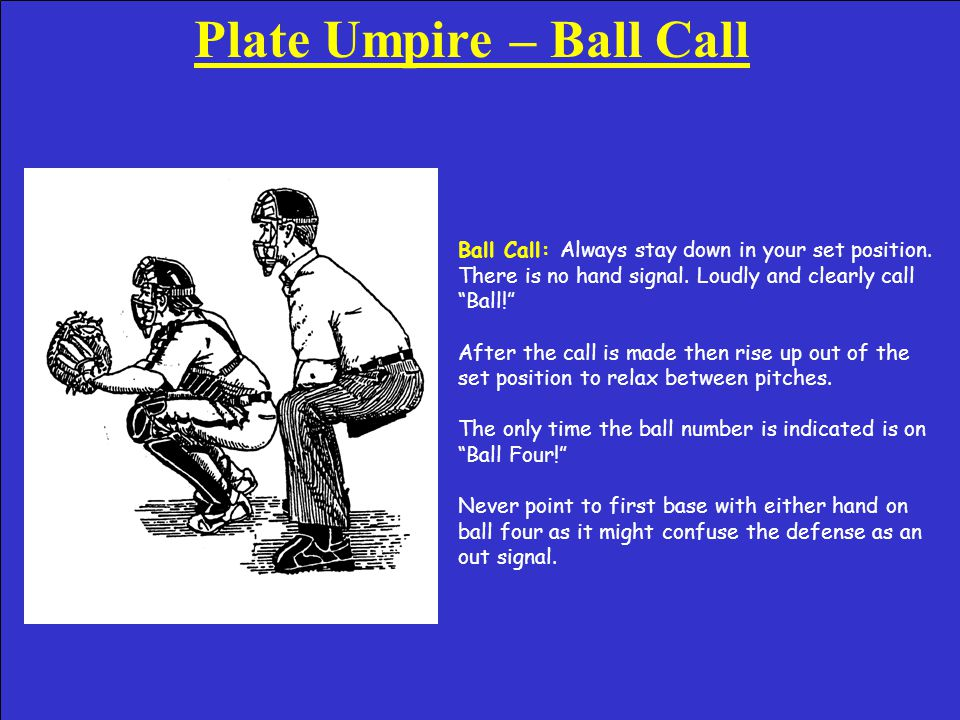 Plate Umpire – Strike Call Strike Call: Wait for the pitch to hit the catcher's glove (proper timing technique).