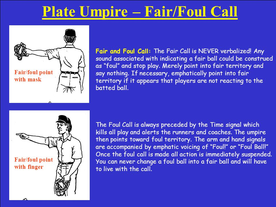 Plate Umpire – Putting Ball in Play Putting Ball in Play: The rules require that a verbalized play be called anytime the ball is made live again after becoming dead.