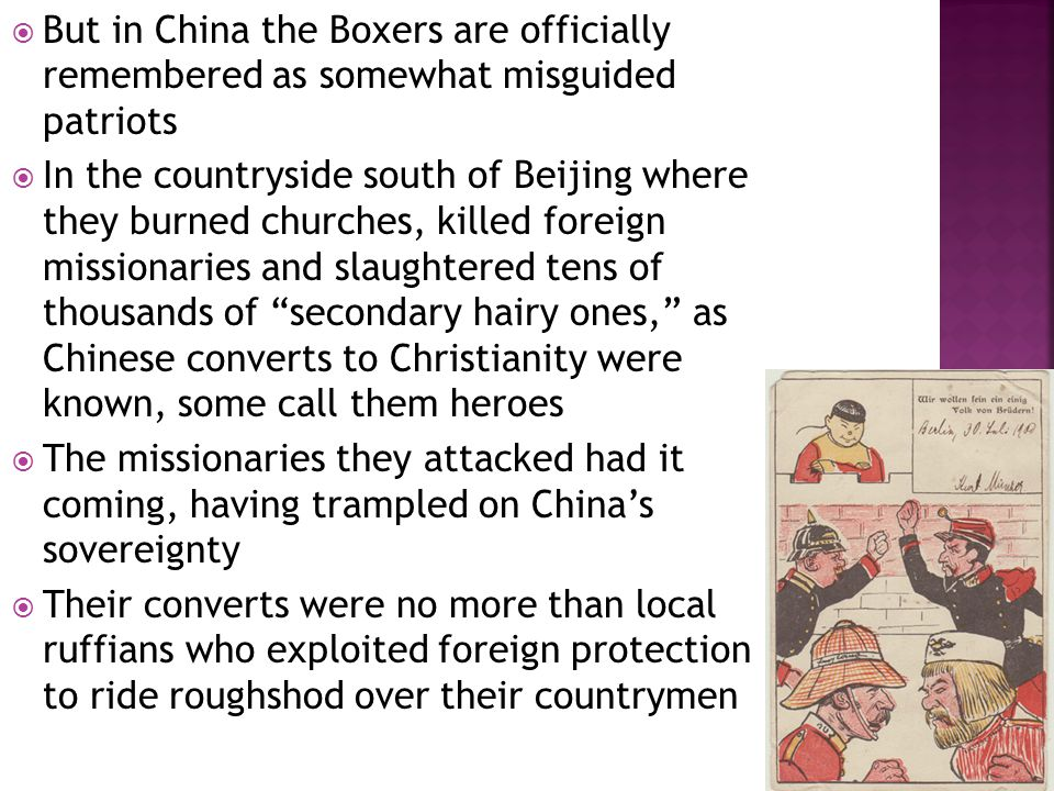  The Boxer episode is commonly portrayed in the West as an orgy of anti-foreign violence  But the 200-300 foreigners who died in the uprising were far outnumbered by Chinese victims  Because both killers and victims in Zhujiahe were Chinese, communist histories gloss over the massacre