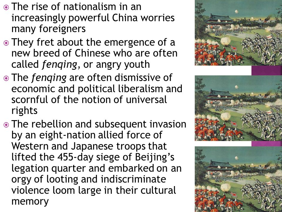  The Communist Party knows that popular nationalism could turn against it  Its efforts to equate patriotism with support for the party leave many patriots who are critics of the party feeling left out  When nationalist demonstrations occur, such as against Western countries who are perceived to have offended China, these dissidents readily join in, posing a threat to the government