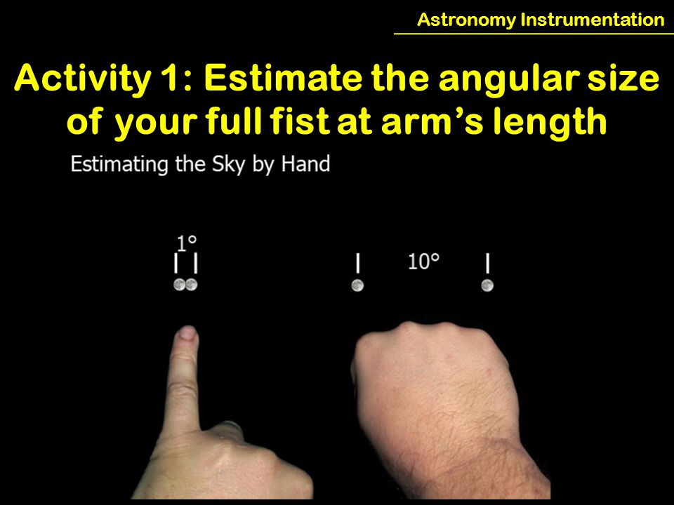 Astronomy Instrumentation Activity 1: Estimate the angular size of your full fist at arm's length