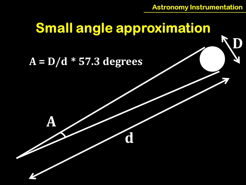 Astronomy Instrumentation Small angle approximation A d D A = D/d * 57.3 degrees