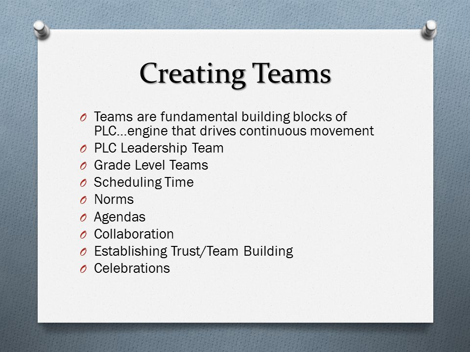 Creating Teams O Teams are fundamental building blocks of PLC…engine that drives continuous movement O PLC Leadership Team O Grade Level Teams O Scheduling Time O Norms O Agendas O Collaboration O Establishing Trust/Team Building O Celebrations