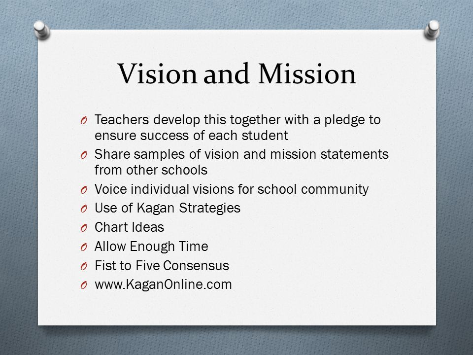 Vision and Mission O Teachers develop this together with a pledge to ensure success of each student O Share samples of vision and mission statements from other schools O Voice individual visions for school community O Use of Kagan Strategies O Chart Ideas O Allow Enough Time O Fist to Five Consensus O www.KaganOnline.com