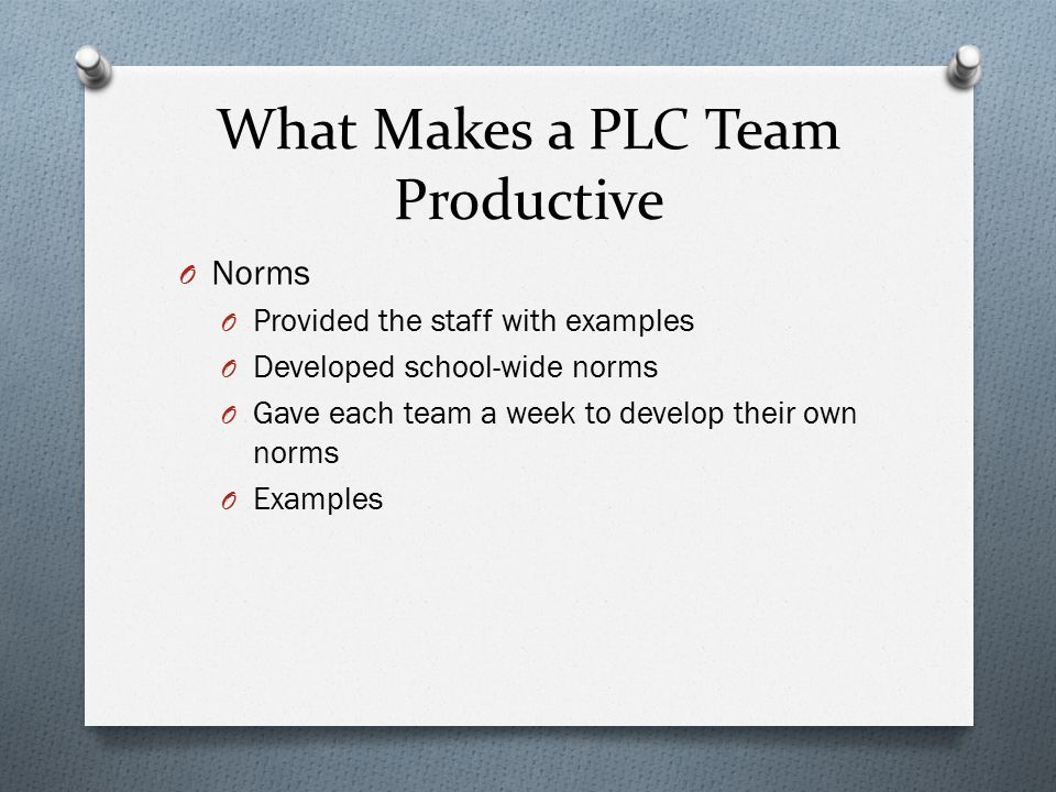 What Makes a PLC Team Productive O Norms O Provided the staff with examples O Developed school-wide norms O Gave each team a week to develop their own