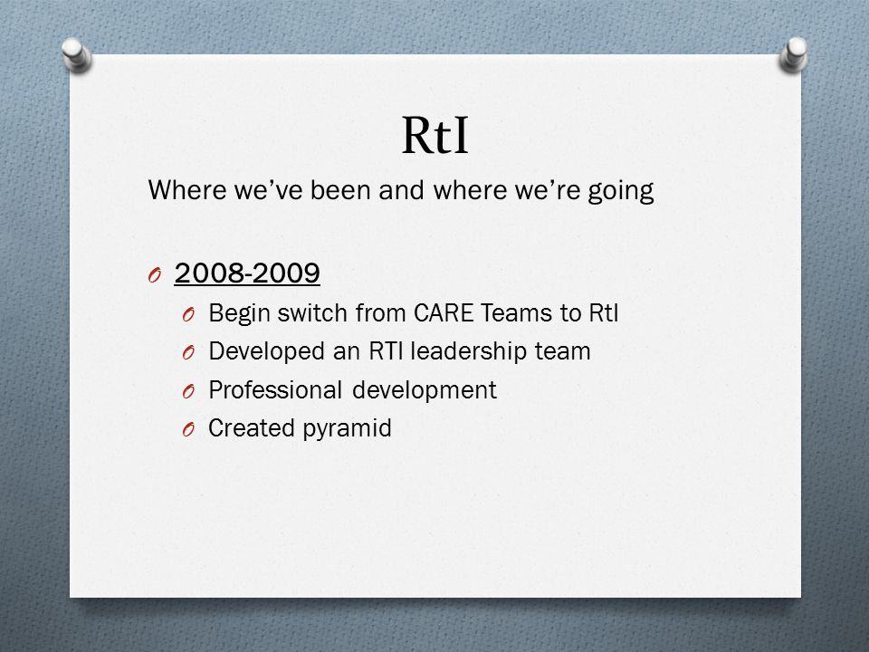 RtI Where we've been and where we're going O 2008-2009 O Begin switch from CARE Teams to RtI O Developed an RTI leadership team O Professional develop