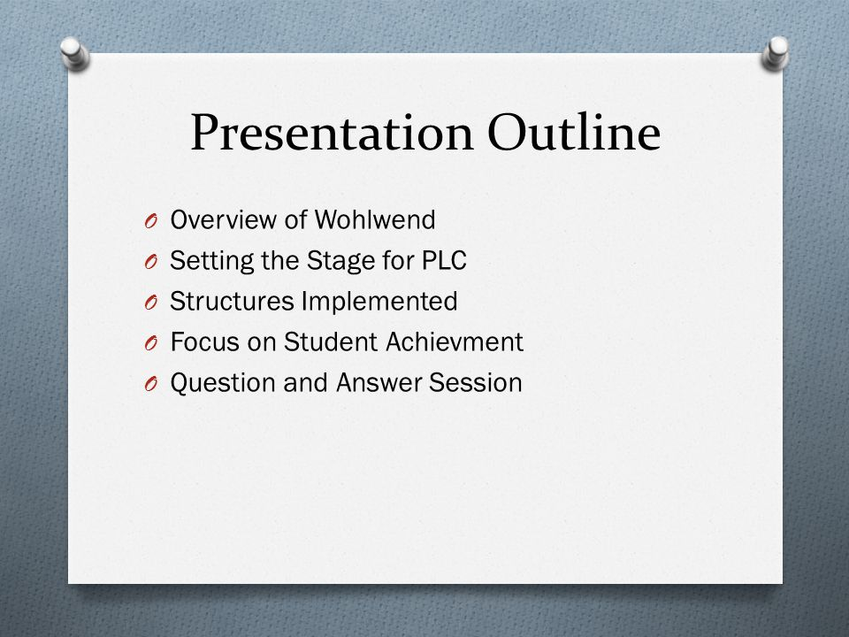 Presentation Outline O Overview of Wohlwend O Setting the Stage for PLC O Structures Implemented O Focus on Student Achievment O Question and Answer Session