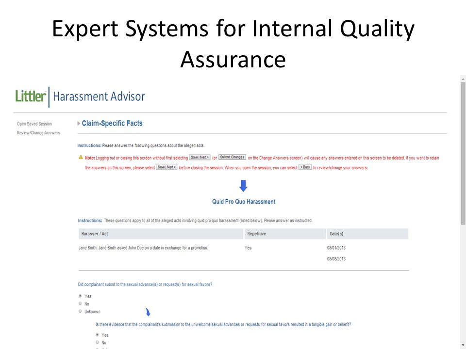 12 Expert Systems for Internal Quality Assurance