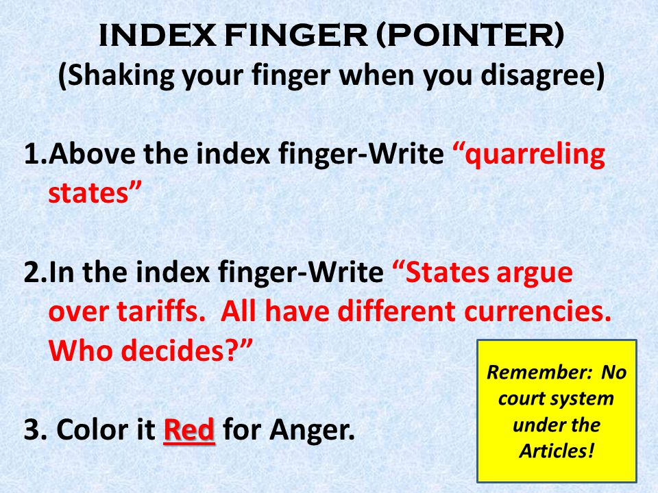 INDEX FINGER (POINTER) (Shaking your finger when you disagree) 1.Above the index finger-Write quarreling states 2.In the index finger-Write States argue over tariffs.