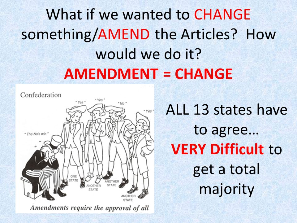 What if we wanted to CHANGE something/AMEND the Articles.