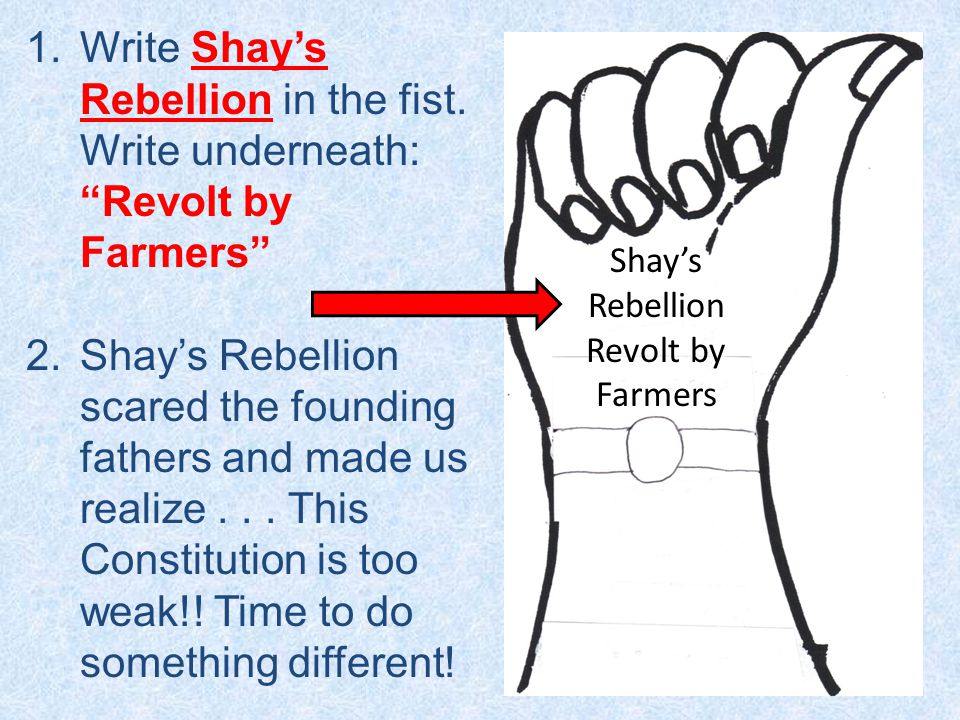 1.Write Shay's Rebellion in the fist.