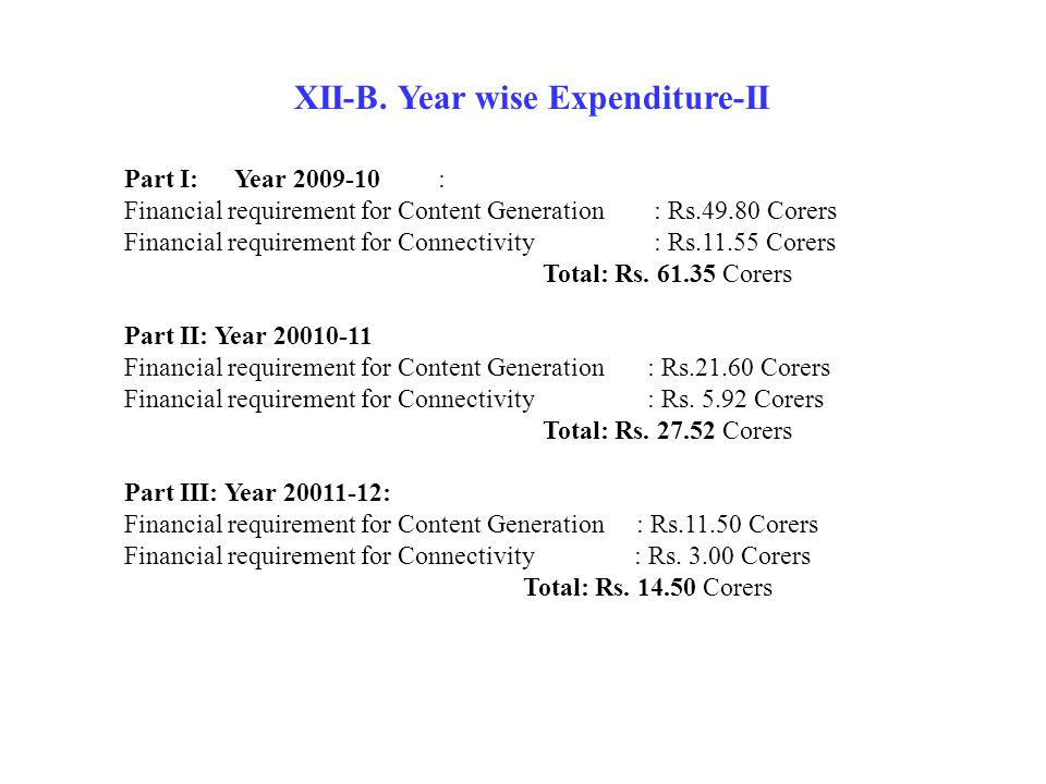 XII-B. Year wise Expenditure-II Part I: Year 2009-10 : Financial requirement for Content Generation : Rs.49.80 Corers Financial requirement for Connec