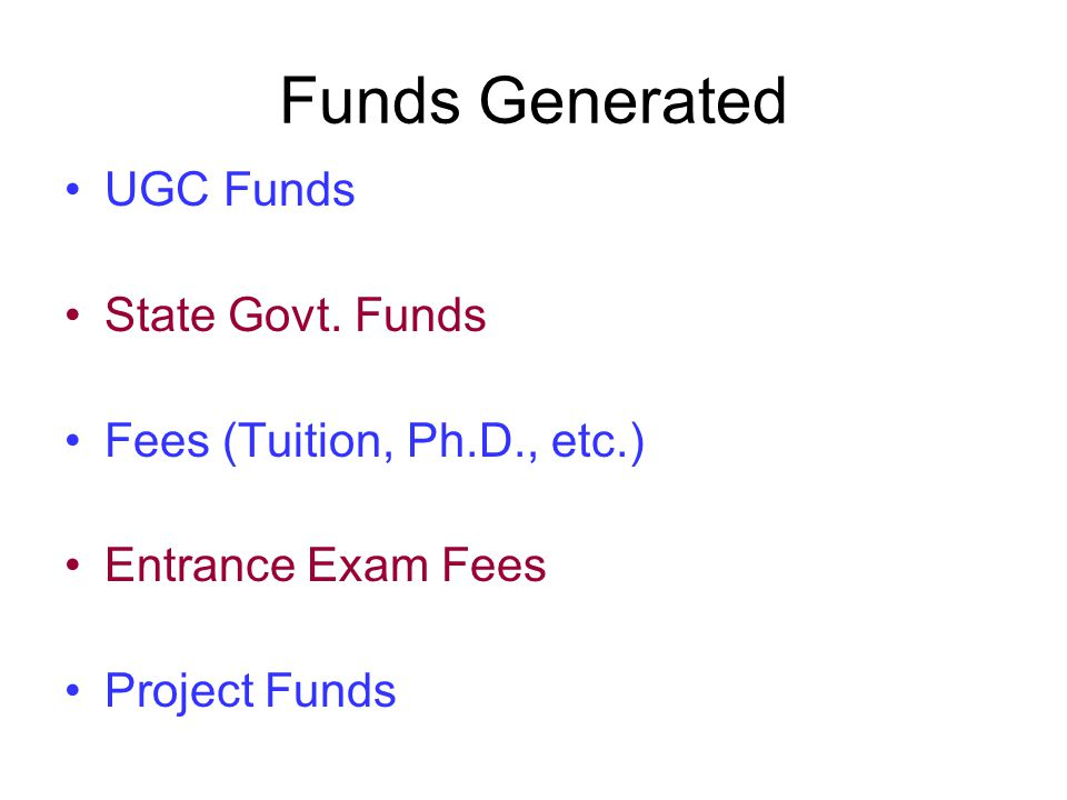 Funds Generated UGC Funds State Govt.